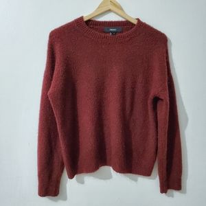 Forever 21 Sweater Plush Fuzzy Maroon Size M
